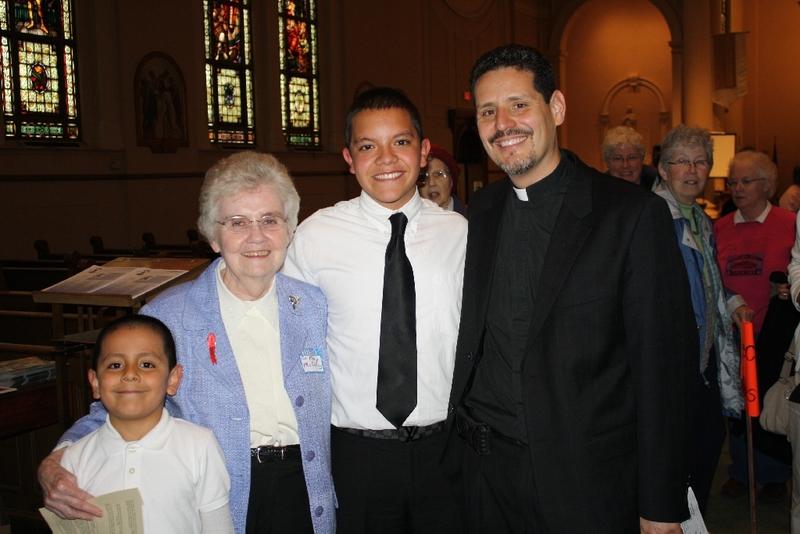 Sister Mary McCauley, Pedro Arturo, Pastor David Vasquez at Interfaith Prayer Service.JPG