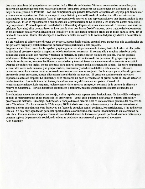 Story of Our Lives Spanish translation of written statement from ...