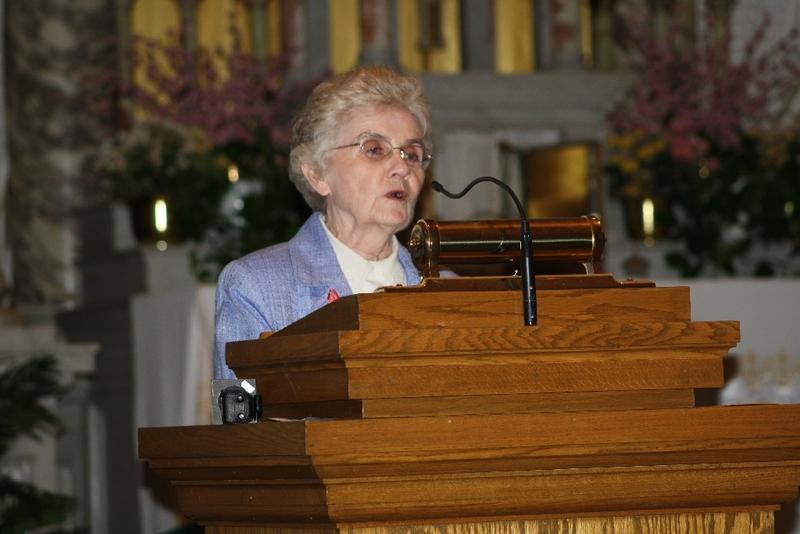 Sister Mary McCauley speaks at the Interfaith Prayer Service, Immaculate Conception Catholic Church.JPG