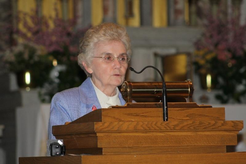 Sister Mary McCauley speaks at the Intefaith Prayer Service, Immaculate Conception Catholic Church.JPG