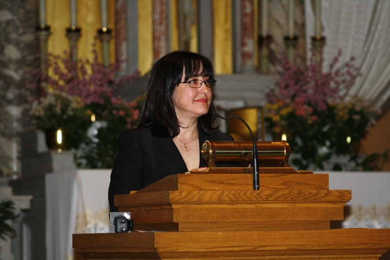 Sonia Parras-Konrad speaks at the Interfaith Prayer Service, Immaculate Conception Catholic Church.JPG