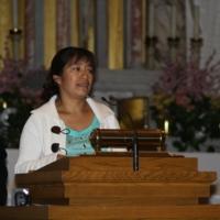 Rosa Zamora speaks at the Interfaith Prayer Service, Immaculate Conception Catholic Church.JPG