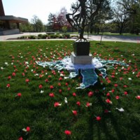 389 hand-made flowers, created by 4 of the detained women living in Postville.JPG