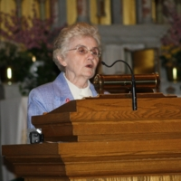 Sister Mary McCauley speaks at the Interfaith Prayer Service, Immaculate Conception Catholic Church.JPG